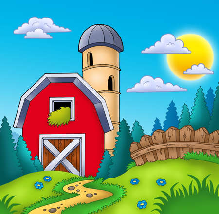grainery: Meadow with big red barn - color illustration.