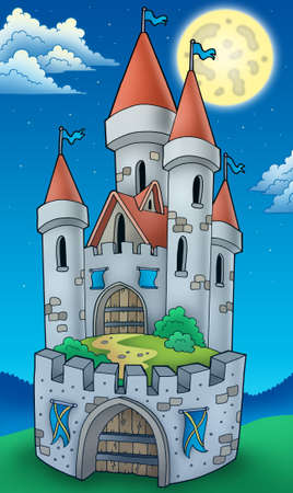 Night view on tall castle - color illustration. illustration