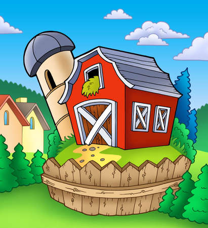 Red barn with fence on countryside - color illustration.