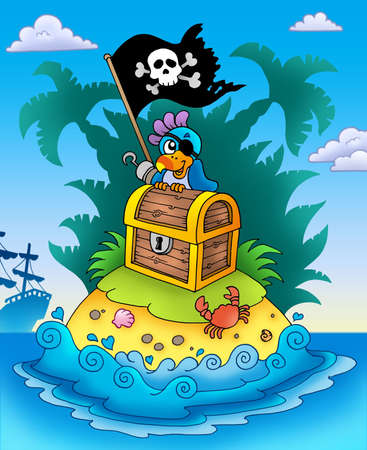 pirates flag design: Small island with chest and parrot - color illustration. Stock Photo