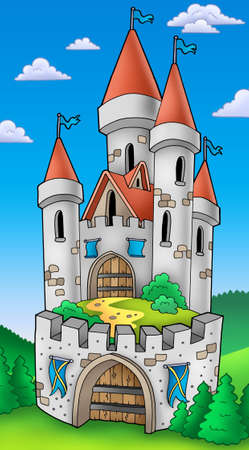 fortification: Tall castle with fortification - color illustration.