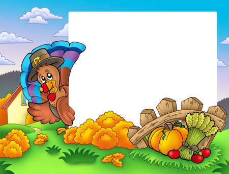 lurk: Thanksgiving frame with turkey 1 - color illustration. Stock Photo