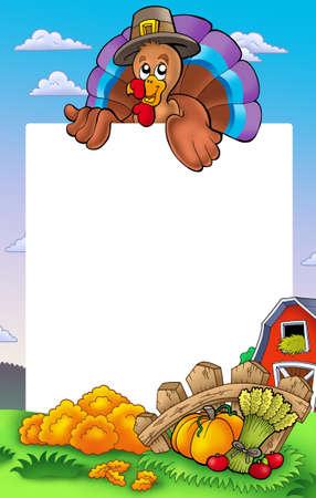 lurk: Cornice di ringraziamento con la Turchia 2 - illustrazione di colore.  Archivio Fotografico