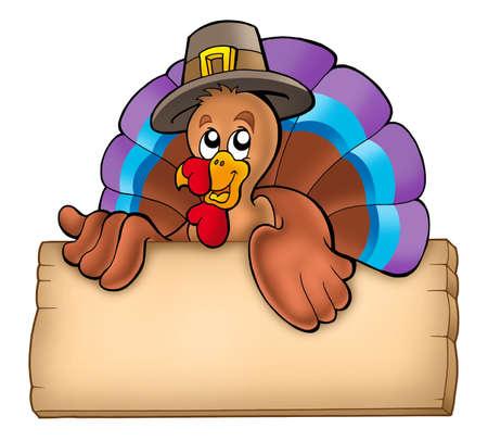 pavo: Plancha de madera con pavo escondida - ilustraci�n de color.  Foto de archivo