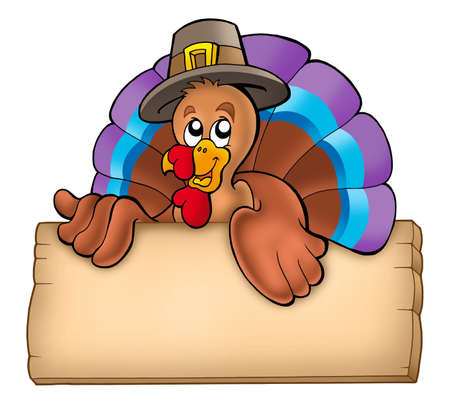 lurk: Wooden board with lurking turkey - color illustration. Stock Photo
