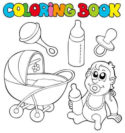 perambulator: Coloring book bambino insieme - illustrazione.  Vettoriali