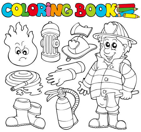 Coloring book firefighter collection - illustration. Vector