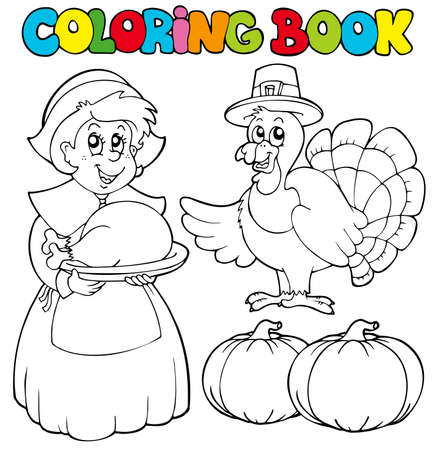 Coloring book Thanksgiving theme - illustration. Vector