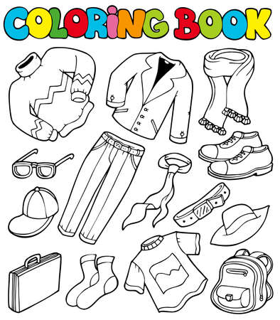 clothes cartoon: Coloring book with apparel - illustration.