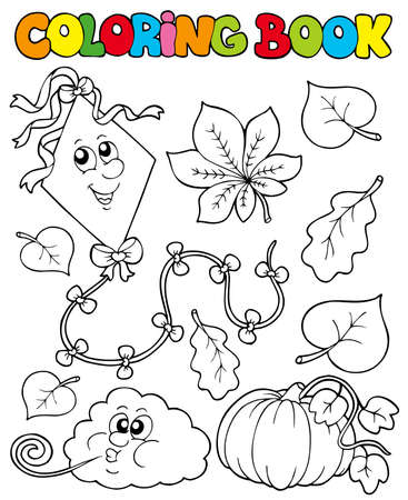face book: Coloring book with autumn theme  - illustration. Illustration