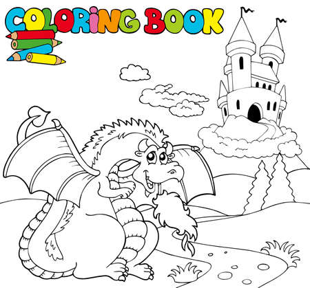 fairy story: Coloring book with big dragon - illustration.