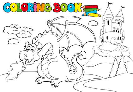 Coloring book with big dragon - illustration. Vector