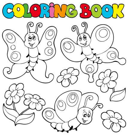 livre � colorier: Coloration du livre avec des papillons - illustration.