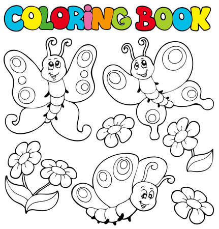 Coloring book with butterflies  - illustration. Vector
