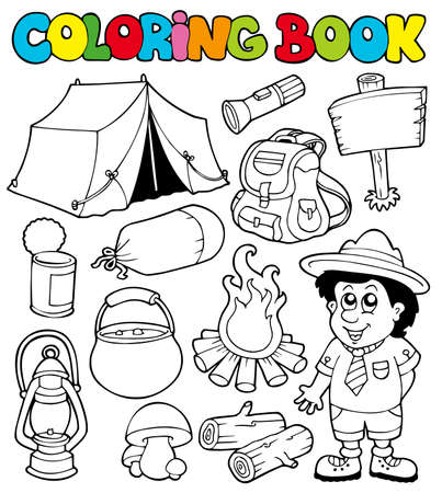 Coloring book with camping images - illustration. Vector