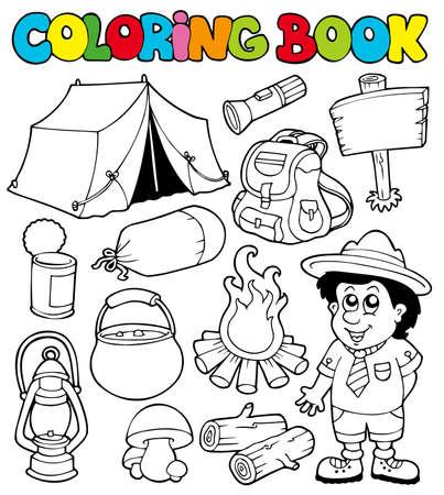 pfadfinderin: Malbuch mit camping Bilder - Abbildung. Illustration
