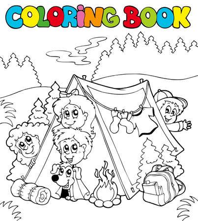 Coloring book with camping kids - illustration. Vector