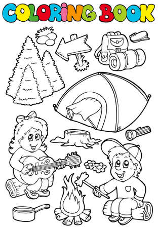 Coloring book with camping theme - illustration. Vector