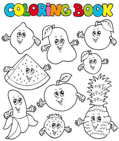 livre � colorier: Coloration du livre avec caricature fruits - illustration.