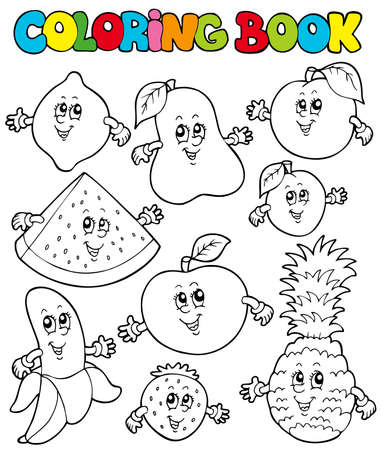 ananas: Coloring book with cartoon fruits - illustration. Illustration
