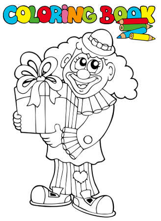 Coloring book with clown and gift - illustration. Vector