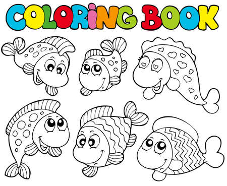 Coloring book with crazy fishes - illustration. Vector