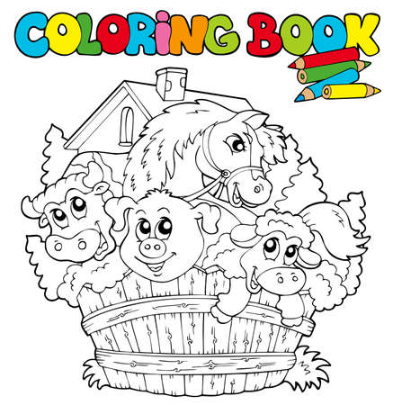 Coloring book with cute animals  - illustration. Vector