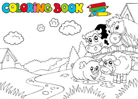 farmstead: Coloring book with cute animals  - illustration.