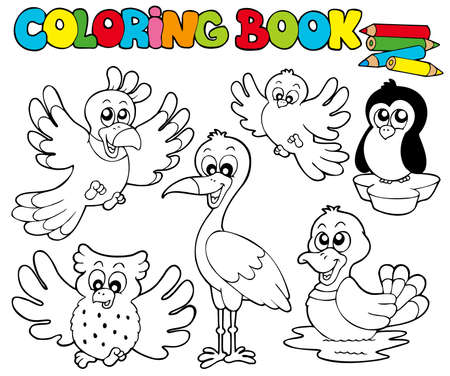 coloring book: Coloring book with cute birds  - illustration. Illustration