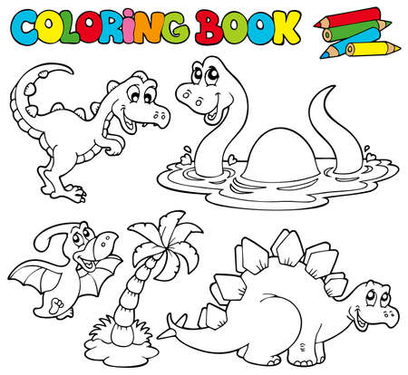 dinosaurio caricatura: Libro para colorear con dinosaurios - ilustraci�n.