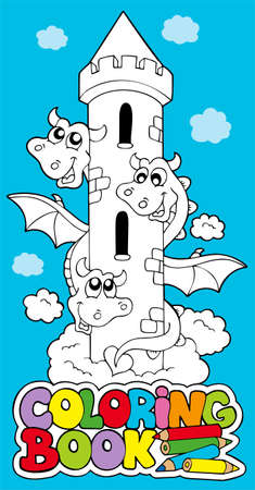 Coloring book with dragon  - illustration. Stock Vector - 8145353