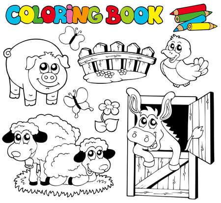 granja caricatura: Libro para colorear con animales de granja - ilustraci�n.