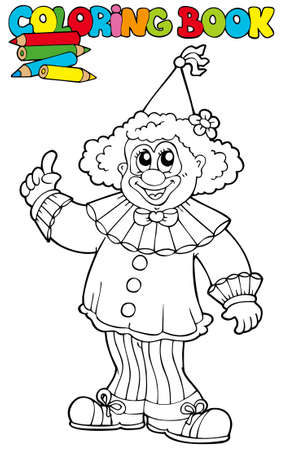 Coloring book with funny clown - illustration. Vector