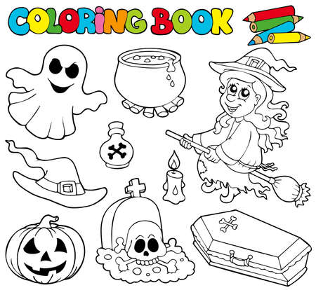 broomstick: Coloring book with Halloween images - illustration.