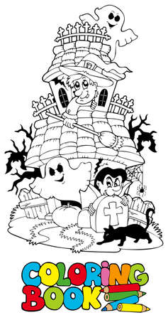 Coloring book with haunted house - illustration. Vector