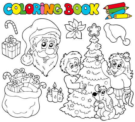 Coloring book with Christmas theme - illustration. Vector