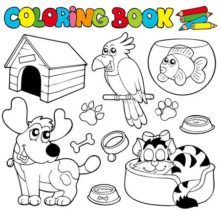 kennel: Coloring book with pets  - illustration.