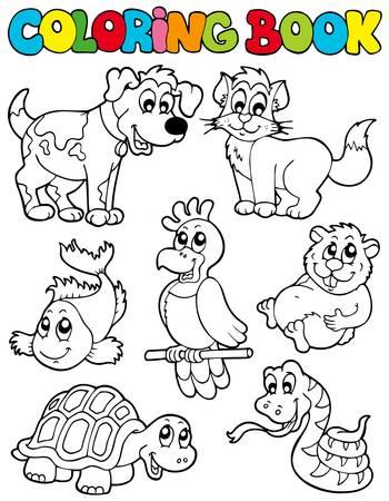 Coloration du livre avec animaux de compagnie - illustration.