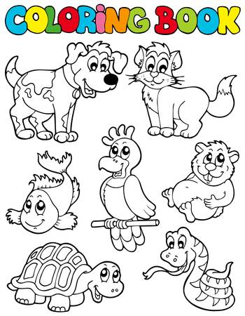 Coloring book with pets - illustration. Vector