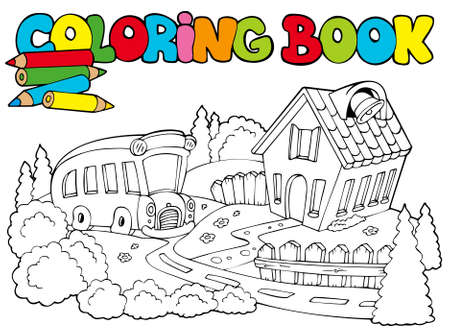 Coloring book with school and bus - illustration. Vector