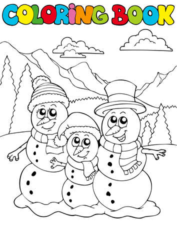 Coloring book with snowman family - illustration. Stock Vector - 8145328