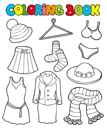 Coloring book with various clothes - illustration. Vector