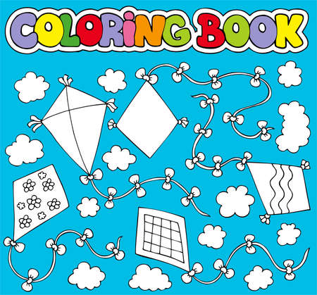 Coloring book with various kites - illustration. Vector
