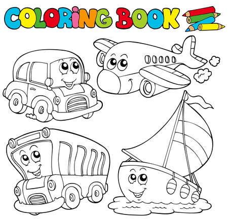 libro caricatura: Libro para colorear con varios veh�culos - ilustraci�n.  Vectores