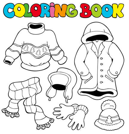 Coloring book with winter clothes - illustration. Stock Vector - 8145345