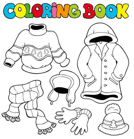 Livre de coloriage avec des vêtements d'hiver - illustration. Banque d'images - 8145345