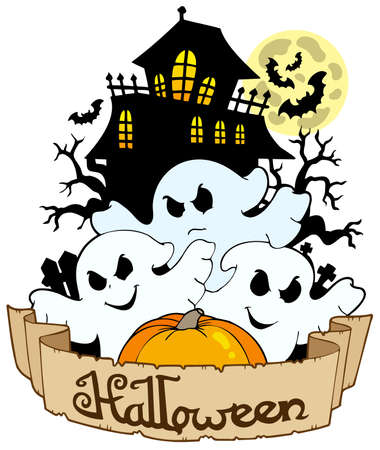 Halloween banner with three ghosts - illustration. Vector