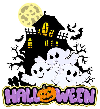 Halloween sign with three ghosts 1 - illustration. Stock Vector - 8145317