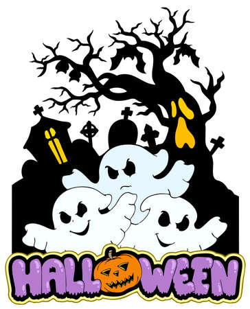 haunt: Halloween sign with three ghosts 2 - illustration.