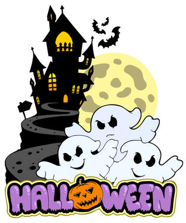 Halloween theme with three ghosts - illustration. Vector
